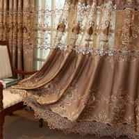 Занавес для гостиной ткани спальня роскошные пользовательские европейские готовые золотые роскошные вилла водорастворимая вышивка 210712
