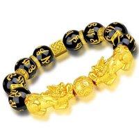 Cena hurtowa moda feng shui kamień koraliki pasma bransoletka mężczyźni kobiety unisex pi xiu obsydian opaski złote bogactwo