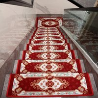 Carpets European Style Stairs Carpet Tread Mats Adhesive-Free House Non-Slip Step Rug Safety And Mute Protection Cover Stair Set