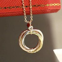 Gold pendant for girls custom love necklace chain women jewelry Three color ring stainless steel High quality luxury Charm Friendship Party Wedding Bride Necklaces