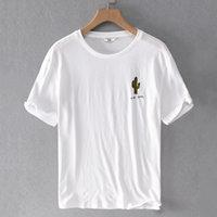 2021 Yeni Yaz Nefes Keten Kısa-Sleed T-Shirt Katı Trendy Elastik Gevşek T Gömlek Erkekler Için Casual Beyaz Tişört Mens Camisa Xiba
