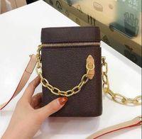 Mini-Telefonkette Kreide Nano-Taschen Satche Klassische Kupplungskasten Handtaschen für Frauen Abend Leder Geldbörse Kreuzkörper Messenger Schultertasche