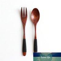 Kit de cena de tenedor de cuchara de madera natural Sopas de arroz Utensilio Cereal Hecho a mano Vajilla para el hogar Cubiertos para Kicthen
