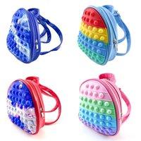 3D Rainbow Fidget Toys Backpack Push Bubble Tie Dye Bag Kids Adult Sports Casual Shoulder Bags Handbag Tote Christmas Gift