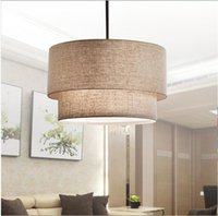 Modern Flax Fabric Lampshade LED Pendant Lamp,Dia 40 50 60CM Led Hanging Lights for Foyer Finning room Hotel Lighting Fixture