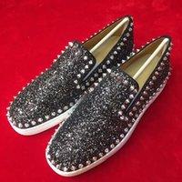[Оригинальная коробка, EU35-46] Бренд Junior Spikes, STRASS Low Top Red Note Boafers Shoafers, известные дизайнерские мужчины Повседневная обувь скейтборд