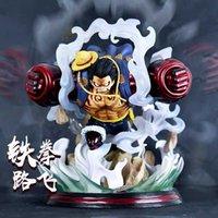 28cm Uma peça Anime Figura GK Engrenagem Quarta Luffy Batalha Estátua de Ação Figura Roronoa Zoro Sanji Ace Marco Shanks Figurine Toysx0526