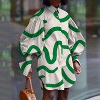 أزياء قميص فانوس كم منحنى النساء اللباس طباعة عارضة فضفاض طويل زائد الحجم 4xl 5xl السيدات الأفارقة الملابس