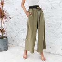 Women's Pants & Capris Classic Ruffled Soft Long Trousers Solid Color High-waist Wide-leg Loose Casual Summer Age