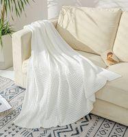 Atacado Ar Condicionado Cobertores Casa Verão Cobertor De Malha Branco Cinza Cinza Amarelo Sólido Solid Sofá-Cobertores