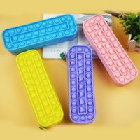 New Decompression Creative Silicone Push Bubble Fidget Toys Student Pencil Case Large Cosmetic Bag Toy For Kids