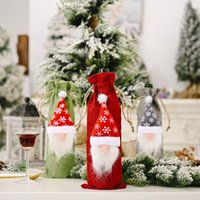 Christmas Wine Bottle Cover Plush Gnomes Champagne Gift Bag Xmas Table Ornaments Dinner Party Decor GWD10300