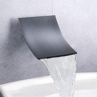 Azos Negro Cascada Tuba de bañera Montaje de pared Alto Flujo Tañero Faucet Baño Baño Romano Bañera Alta Flujo Cascada Faucet