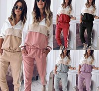 6 Colors Womens Two Piece Set Colorblock Fashion Sweater Pants Long Sleeves Trousers Womens Casual Suit Tracksuits Hooded Hoodie S-3XL