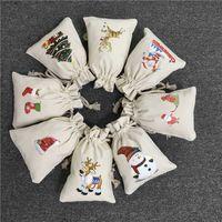 Bolsa de Navidad Beige Bolso de caramelo Niños y adultos Peace Fruit Bag Lindo Dibujos animados Reno Reno Muñeco de nieve Sombrero de Navidad Sombrero de Navidad Diseño de impresión