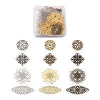 매력 1 박스 Pandahall 쥬얼리 금속 Fileigree 참여자 꽃 눈물 모양 팔찌 목걸이 귀걸이 만들기 장식