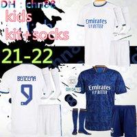 Yeni Gençlik 21 22 Real Madrid Tehlikesi Alaba Vini Jr. Futbol Forması 2021 2022 Benzema Sergio Ramos Kroos Asensio Modric Marcelo Kids Kit + Çorap Futbol Formaları