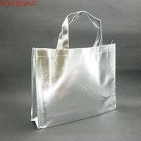 50x مخصص شعار الطباعة reusable الفضة المعدنية مغلفة pp غير المنسوجة حمل حقيبة تسوق أكياس هدية النسيج