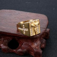 Cluster Rings Accesories Punk Mens Ring Stainless Steel Cross Jesus Judgment Zircon Signet-ring Gold Fashion Jewelry Gifts For
