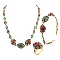 Earrings & Necklace Vintage Ethnic Women Resin Crystal Gold Color Adjustable Bracelet Pendant Ring Wedding Jewelry Set Costumes Accessories