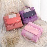 Bathroom Storage & Organization Big Nylon Travel Makeup Organizer With Handle Large Capacity Dry Wet Depart Cosmetics Bag Portable Toiletrie