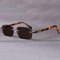 Luxury designer glasses Vazrobe Glass Sunglasses Men Women Vintage Rimless Sun Glasses for Man Outdoor Shades Crystal Stone Lens HD Anti Eye Dry Brand