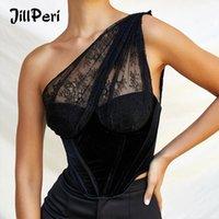 Jillperi une épaule Black Velvet Dentelle Patchwork Crop Tops Hôtel Sexy Bustier Femmes Tenue de mode Corset Haut 210306
