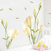 60x90cm Sala de estar TV Fondo DIY Romántico PVC blanco Lirio impermeable Decoración para el hogar Regalo extraíble Etiqueta engomada de la pared