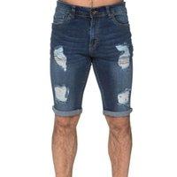 Men's Pants 2021 Cotton Linen Summer Mid-waist Casual Wear Ripped Five-point Denim Trousers Fitness Streetwear