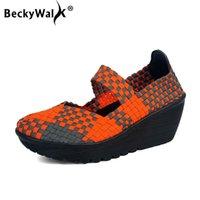 Sandálias Beckywalk Middle Heels Mulheres Wedge Sapatos Primavera Casual Handmade Woven Verão Senhoras Plataforma WSH2906