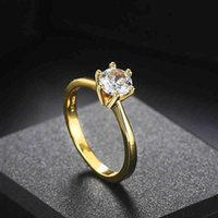 Love Ring Wedding s for Women Classic 1 Karate Aaa + Zircon Light Gold Colour Engagement Anniversary Jewelry Wholesale R174