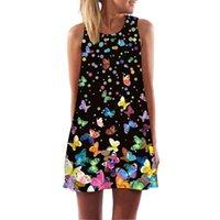 Bhffutter Elbiseler Kadınlar için Moda Kelebek Baskı Sevimli Şifon Yaz Elbise Mini Rahat Boho Beach Elbiseler Robe Femme 210309