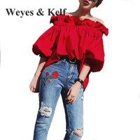 Женские блузки Рубашки Weyes Kelf Sweet ruffles от плечевой хлопковой рубашки 2021 мода наполовину слоеного рукава Богемский для женщин красные топы Femme
