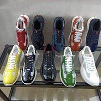 Hombres America's Cup XL Cuero Zapatillas de cuero de alta calidad Patent Patent Placa Placa Transportes de malla negra Zapatos casuales Zapatos casuales Transporte de corredores al aire libre