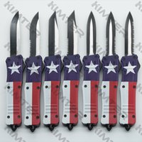8 inches Medium 616 A161 out the front auto Knife Lonestar DOUBLE ACTION 440C Blade zinc alloy handle EDC Tactical Tools automatic Pocket Knives TEXAS FLAG Cncostco