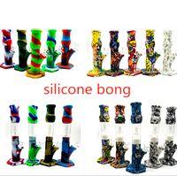 4 estilos Cachimbas rectas de silicona BONG Tubos de fumar con gloss Bongs Plataformas de aceite Diferentes colores Tubería de agua