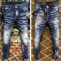 2021 Listing Listing Skinny Jeans para homens rasgados buracos jeans motocicleta motocicleta calça denim homens marca moda designer hip hop homens jeans