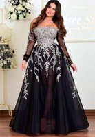 2021 Plus Size Arabic Aso Ebi Black Lace Beaded Prom Dresses Long Sleeves A-line Evening Formal Party Second Reception Bridesmaid Gowns Dress ZJ202
