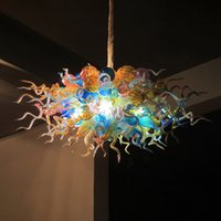 Modern Hand Blown Glass Bubble Pendant Lamp LED Chandelier Lighting Colorful 32 by 24 Inches Home Lights for Art Decoration