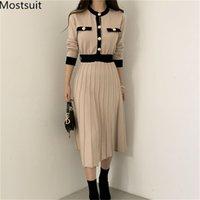 Coreano elegante de malha vestido longo vestido mulheres blocado de cor de manga comprida de breasted o-pescoço uma linha plissada vestidos 210312