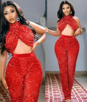2021 Plus Size Arabic Aso Ebi Red Sequined Jumpsuits Prom Dresses High Neck Backless Evening Formal Party Second Reception Bridesmaid Gowns Dress ZJ2032