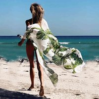 Женские повседневные платья листья печать бикини пляж накрыть тунис для длинного кафтана халат на молнии Sarong BadPak Cover UPS 0723