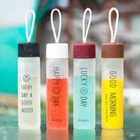 8 Colors Frosted Glass Transparent Water Bottle Bottles Drink Cup With Lid Tumbler Tea Mug Adult Outdoor Sport Portable Glasses Cups Kid Children School DH3050