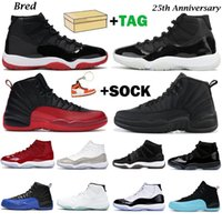 Mens basketball shoes jumpman 11 25th Anniversary 11s Bred Cap and Gown Space Jam 12s Dark Concord Reverse Flu Game men women sneakers