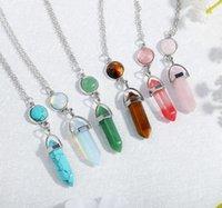 Pendentifs de pierres précieuses naturelles Collier Opal Rose Quartz Guérison Cristal Pendentif Stone Neckalce Bijoux pour Femmes Filles
