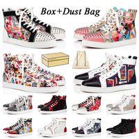 Kadın Erkek Kırmızı Alt Ayakkabı Lüks Tasarımcılar Günlük Ayakkabı Lüks Tasarımcı Sneakers Deri Süet Çivili loafer'lar Platform Alt Genç Eğitmenler Büyük Beden Eur 47