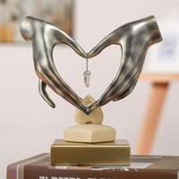 Decorative Objects & Figurines Hand Heart-Shaped Crystal Resin Art Sculpture Handicrafts Craft Home Decoration Accessories Birthday Gift