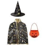 Conjuntos de roupas Kids Witch Wizard Manto Cabo com chapéu apontado Roupa crianças Traje de Halloween Cosplay Festa Festa Performance Dress Up