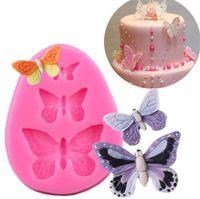 Accessoires de cuisson en silicone de moule de papillon 3D DIY Craft de sucre Coupe-chocolat Moule Fondant Gâteau Tool de décoration de gâteau 3 couleurs