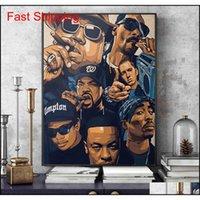 Fashion West Coast Hip Hop Tupac Affiche de musique et imprimerie peinture sur toile sur l'art mural 2Pac Picture pour Hom QYLLJD Toys2010